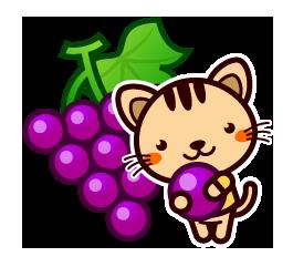 ぶどうを持つ猫
